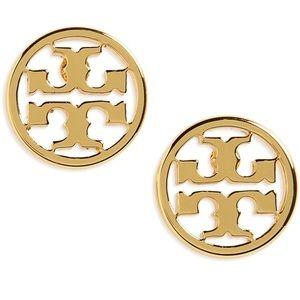 14K Gold Plated Tory Burch Logo Stud Earrings